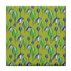 Tropical Floral Pattern Tile Coasters