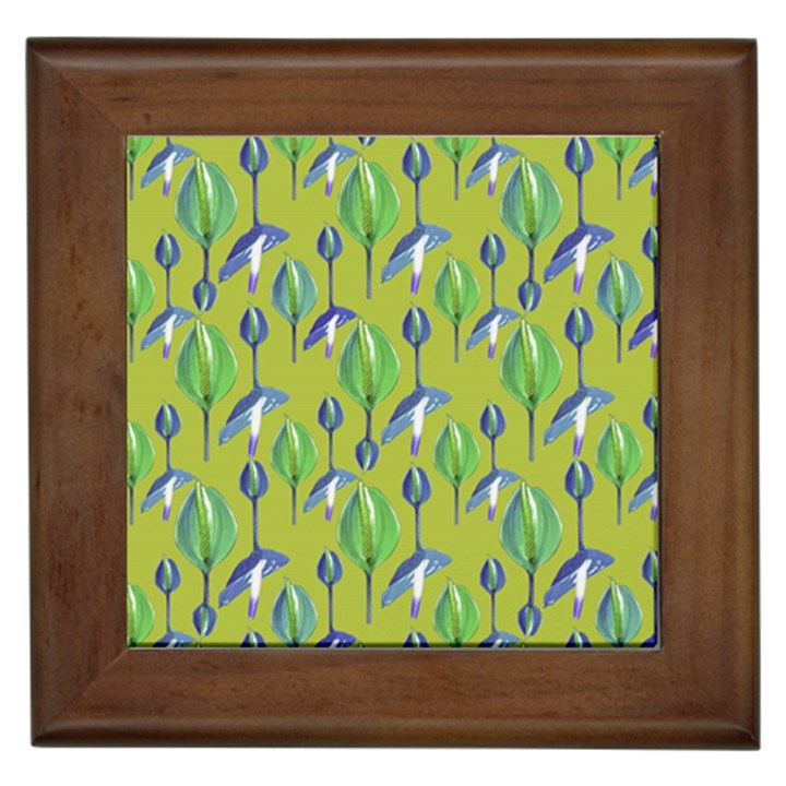 Tropical Floral Pattern Framed Tiles