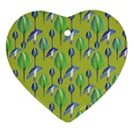 Tropical Floral Pattern Ornament (Heart)