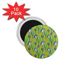 Tropical Floral Pattern 1.75  Magnets (10 pack)