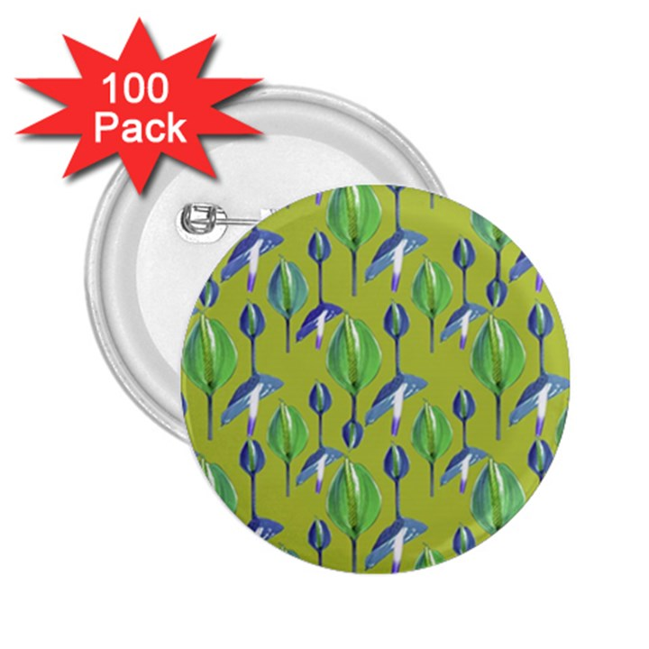 Tropical Floral Pattern 2.25  Buttons (100 pack)
