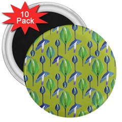 Tropical Floral Pattern 3  Magnets (10 pack)