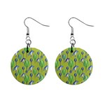 Tropical Floral Pattern Mini Button Earrings