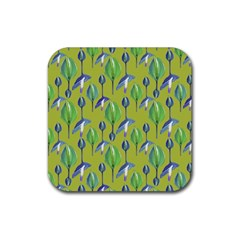 Tropical Floral Pattern Rubber Square Coaster (4 pack)