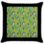 Tropical Floral Pattern Throw Pillow Case (Black)