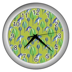 Tropical Floral Pattern Wall Clocks (Silver)