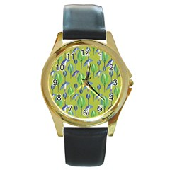 Tropical Floral Pattern Round Gold Metal Watch