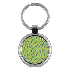 Tropical Floral Pattern Key Chains (Round)
