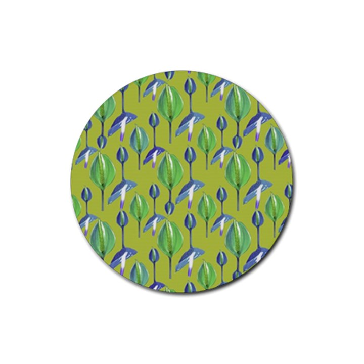Tropical Floral Pattern Rubber Round Coaster (4 pack)