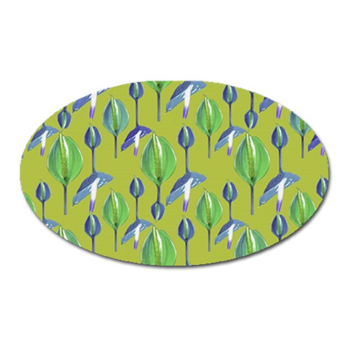 Tropical Floral Pattern Oval Magnet