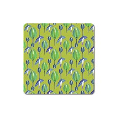 Tropical Floral Pattern Square Magnet