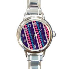 Purple And Pink Retro Geometric Pattern Round Italian Charm Watch