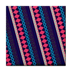 Purple And Pink Retro Geometric Pattern Tile Coasters by DanaeStudio