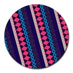 Purple And Pink Retro Geometric Pattern Round Mousepads Front