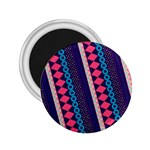 Purple And Pink Retro Geometric Pattern 2.25  Magnets Front