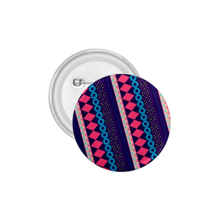 Purple And Pink Retro Geometric Pattern 1.75  Buttons