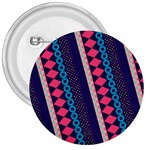 Purple And Pink Retro Geometric Pattern 3  Buttons Front
