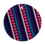 Purple And Pink Retro Geometric Pattern Ornament (Round)  Front