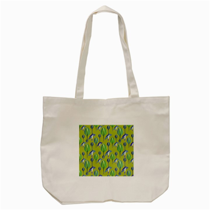 Tropical Floral Pattern Tote Bag (Cream)