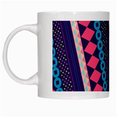 Purple And Pink Retro Geometric Pattern White Mugs