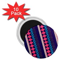 Purple And Pink Retro Geometric Pattern 1 75  Magnets (10 Pack)  by DanaeStudio