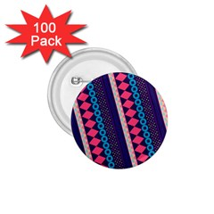 Purple And Pink Retro Geometric Pattern 1 75  Buttons (100 Pack)