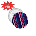 Purple And Pink Retro Geometric Pattern 1.75  Buttons (100 pack)  Front