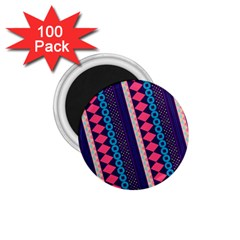 Purple And Pink Retro Geometric Pattern 1 75  Magnets (100 Pack)