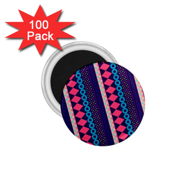 Purple And Pink Retro Geometric Pattern 1.75  Magnets (100 pack)
