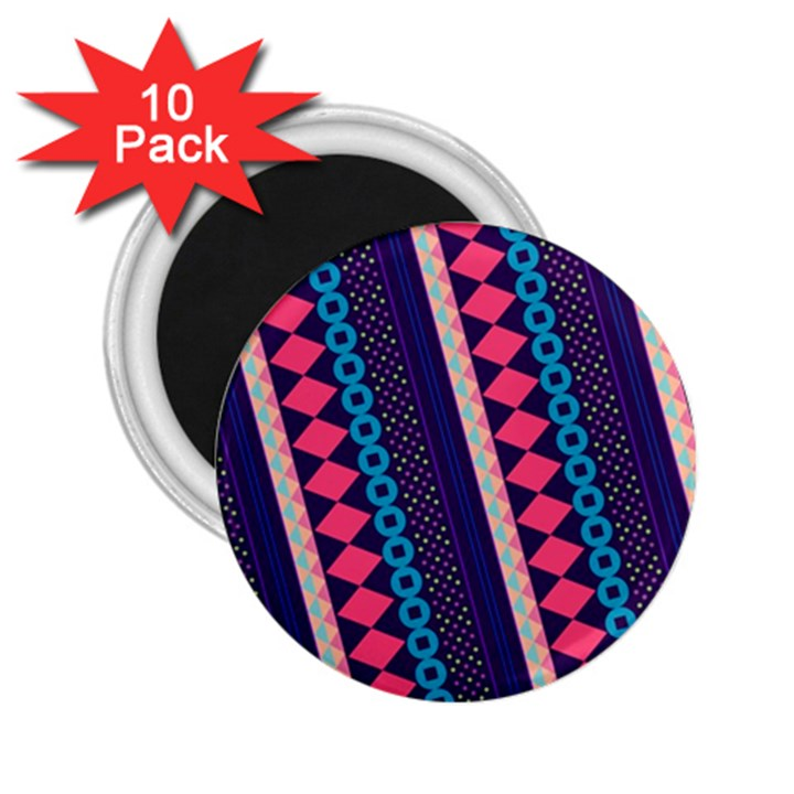 Purple And Pink Retro Geometric Pattern 2.25  Magnets (10 pack)