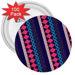 Purple And Pink Retro Geometric Pattern 3  Buttons (100 Pack)  by DanaeStudio