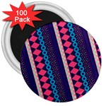 Purple And Pink Retro Geometric Pattern 3  Magnets (100 pack) Front