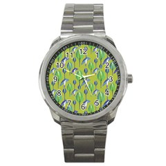 Tropical Floral Pattern Sport Metal Watch