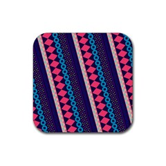 Purple And Pink Retro Geometric Pattern Rubber Coaster (square)  by DanaeStudio
