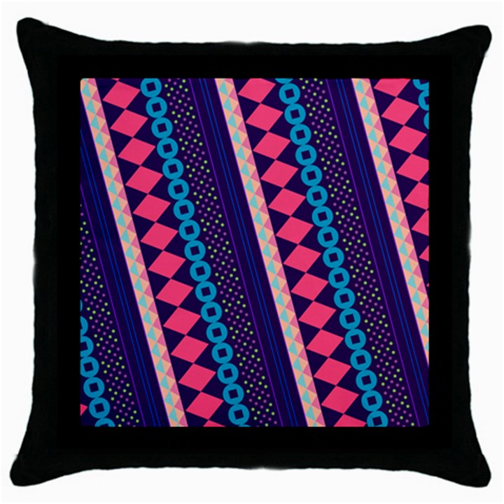 Purple And Pink Retro Geometric Pattern Throw Pillow Case (Black)