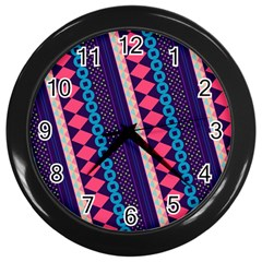 Purple And Pink Retro Geometric Pattern Wall Clocks (black) by DanaeStudio