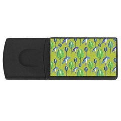 Tropical Floral Pattern USB Flash Drive Rectangular (4 GB)