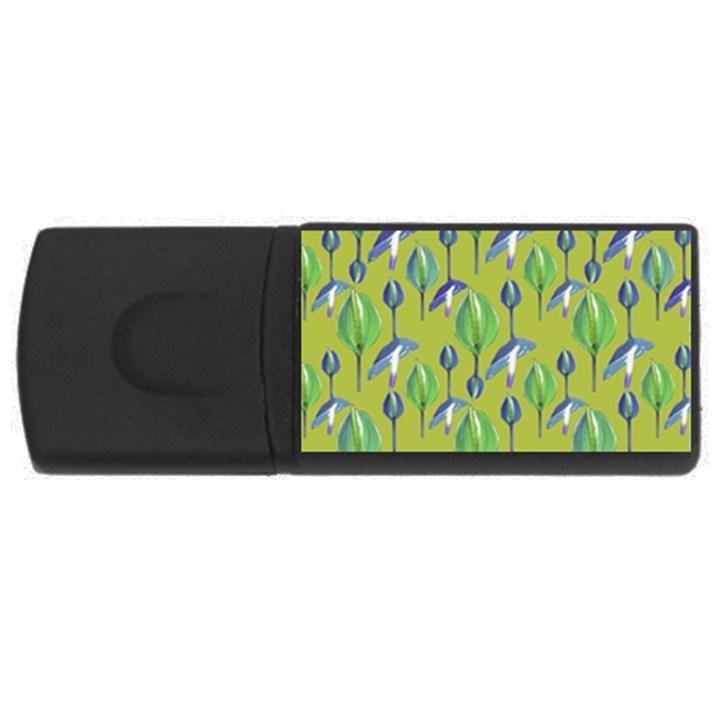 Tropical Floral Pattern USB Flash Drive Rectangular (4 GB)