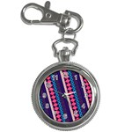Purple And Pink Retro Geometric Pattern Key Chain Watches Front