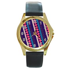 Purple And Pink Retro Geometric Pattern Round Gold Metal Watch by DanaeStudio