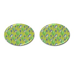 Tropical Floral Pattern Cufflinks (Oval)
