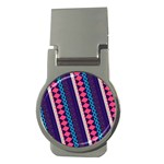 Purple And Pink Retro Geometric Pattern Money Clips (Round)  Front