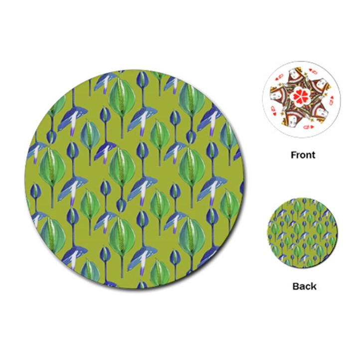 Tropical Floral Pattern Playing Cards (Round)