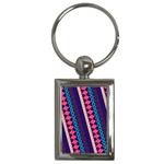 Purple And Pink Retro Geometric Pattern Key Chains (Rectangle)  Front
