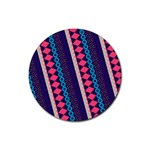 Purple And Pink Retro Geometric Pattern Rubber Coaster (Round)  Front