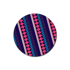 Purple And Pink Retro Geometric Pattern Rubber Round Coaster (4 Pack)  by DanaeStudio
