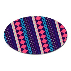 Purple And Pink Retro Geometric Pattern Oval Magnet