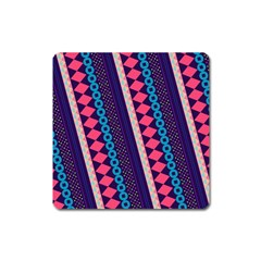 Purple And Pink Retro Geometric Pattern Square Magnet by DanaeStudio