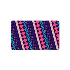 Purple And Pink Retro Geometric Pattern Magnet (name Card) by DanaeStudio