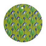 Tropical Floral Pattern Round Ornament (Two Sides)  Back